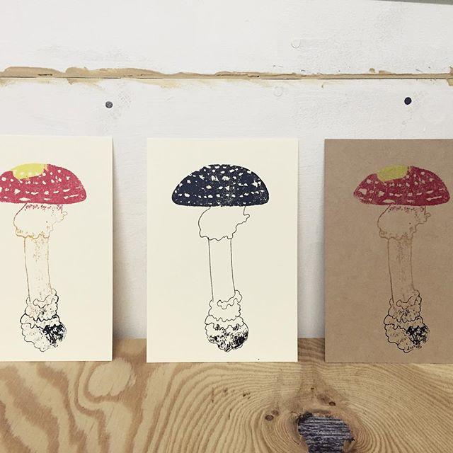 Mushrooms #illustration #mimeograph #printmakingart #hanga #printmaking
