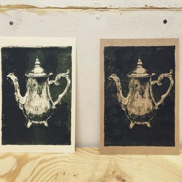 pitcher #illustration #mimeograph #printmakingart #hanga #printmaking