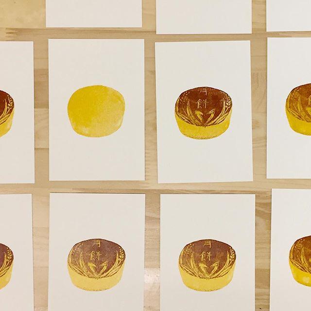 Mooncake #printmaking #mimeograph #hanga #printmakingart #illustration