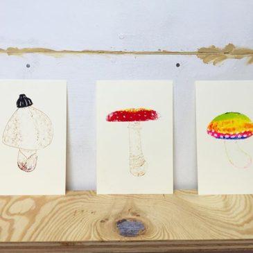 Mushrooms #printmaking #mimeograph #hanga #printmakingart #illustration