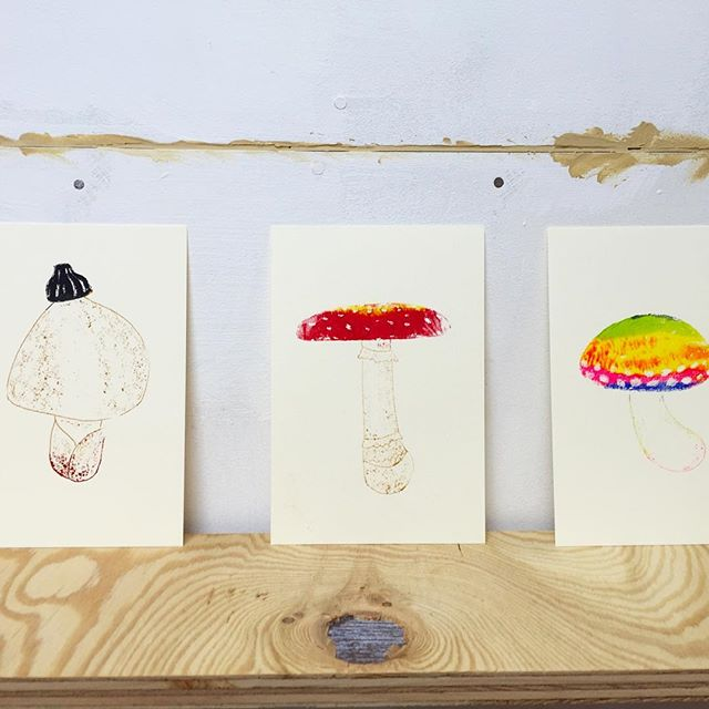Mushrooms #printmaking #mimeograph #hanga #printmakingart #illustration