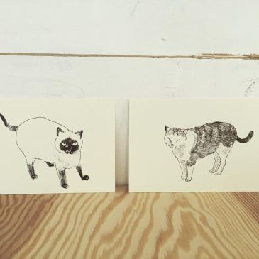 cat's #illustration #mimeograph #hanga #printmaking #printmakingart