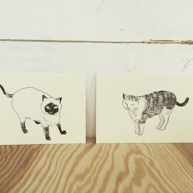 cat's #illustration #mimeograph #hanga #printmaking #printmakingart