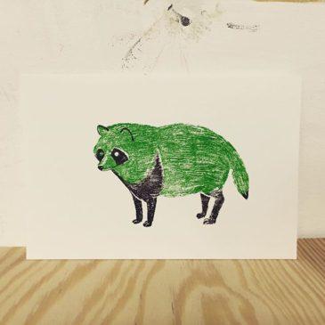 Raccoon of green #printmakingart #printmaking #hanga #mimeograph #illustration
