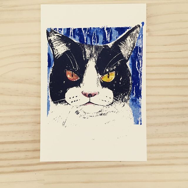 cat #illustration #printmaking #printmakingart #mimeograph #hanga