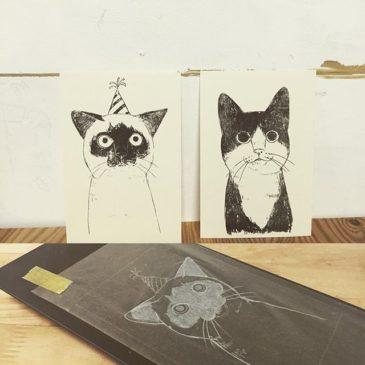 ボツにゃんズ。#謄写版 #ガリ版 #illustration #猫