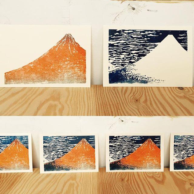 Hokusai #イラスト#版画 #謄写版 #ガリ版 #模写 #mimeograph #printmaking #習作
