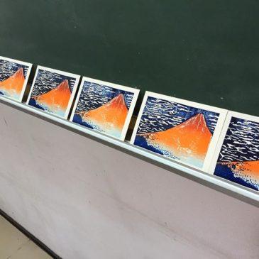 本日の刷り。#塗布還元法 #謄写版 #ガリ版 #printmaking #mimeograph #XBヤスリ #面製版 #グラデーション刷り