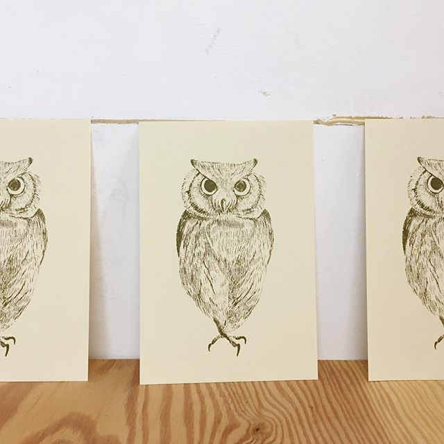 """Scops owl""#illustration #printmaking #mimeograph #instagood #instadaily #instaart #謄写版 #イラスト"