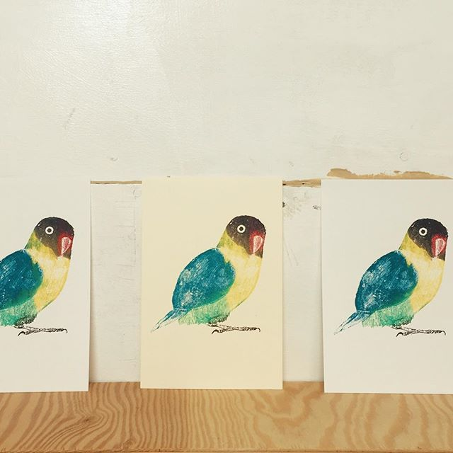 Parakeet#謄写版 #ガリ版 #一版多色刷り #イラスト #illustration #printmaking #mimeograph