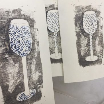 "making of printmaking artwork ""BLUE LINE"""