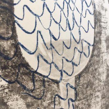 "making of printmaking artwork ""BLUE LINE"""