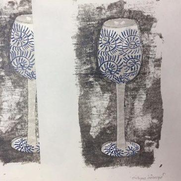 "making of printmaking artwork ""OCTOPUS ARABESQUE"""