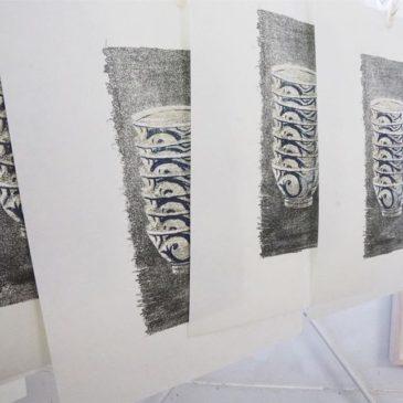 "making of printmaking artwork ""NOISE"""