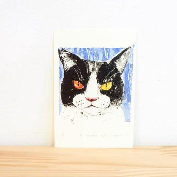 今日はネコの日!・ブサカワで個展の時に好評だったハチワレ猫の版画が10-48オンラインセレクトショップにて販売開始です!・猫作品をお探しの方!是非。・http://1048.shopselect.net/items/10013218