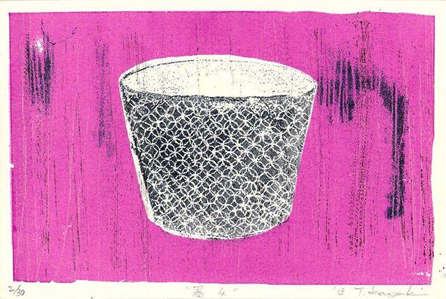 """""""器4/UTSUWA4"""" 2013, Mimeograph print, Edition of 31, 14x10cm.You can Pay by Paypal (for international). #mimeograph #utsuwa #buleandwhite #printmaking #miniprint #pink #謄写版 #ガリ版 #fileprateproses"""