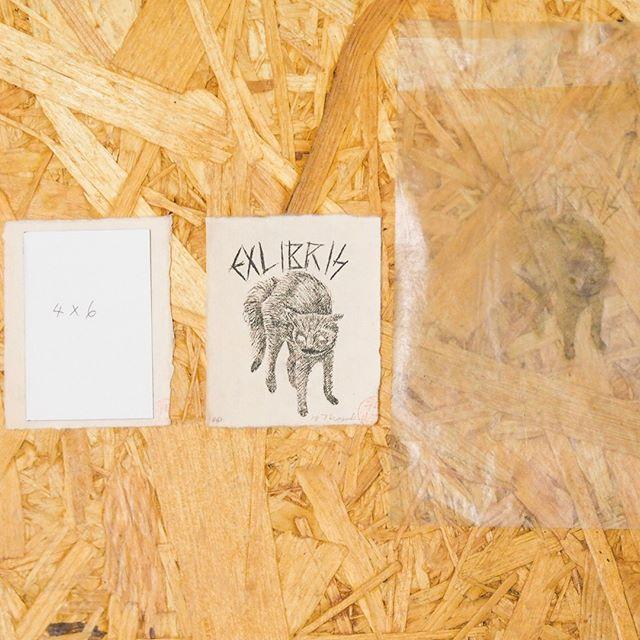 """蔵書票シリーズは、実はロウ原紙から作ってます。・・""""exlibris""""#exlibris #peopleofprint #cat #mimeograph #fileprateprocess #謄写版 #ガリ版 #printmaking #artistsofinstagram"""