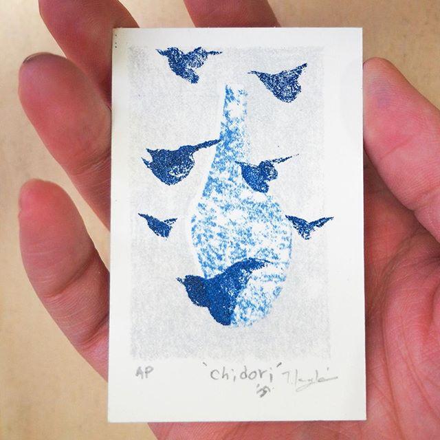 'Chidori'#mineograph #printmaking #peopleofprint #tomokokanzaki #blueandwhite