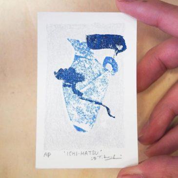 'ICHI-MATSU'#mimeograph #peopleofprint #tomokokanzaki #printmaking #blueandwhite